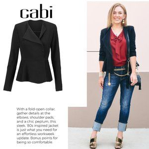CAbi Agency Peplum Jacket #3549 in Black Size 8